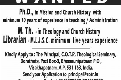 Wanted Ph.D. in Mission & Church History
